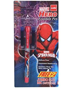 Cello - Marvel Hero Fountain Pen Blue With 2 Ink Cartridge (Pack Of 2)