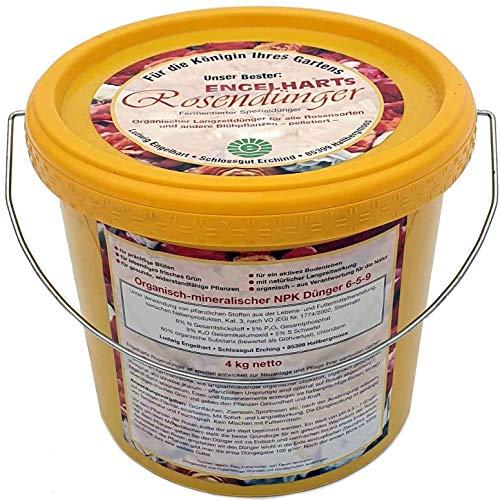 4 kg Engelharts Rosendünger pelletiert: organisch-mineralischer NPK-Dünger | Naturdünger | gesunde, widerstandsfähige Pflanzen | Langzeitwirkung (Strauch Bayer)