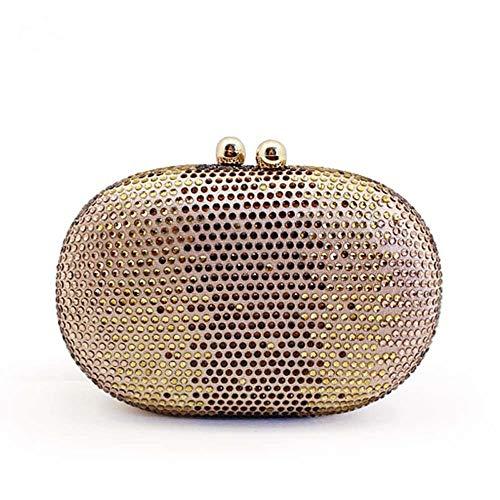 Xihou - Beauty Case Ovale, Misura Piccola, con Strass incastonati a Diamante, 15,7 x 5,9 x 10,6 cm