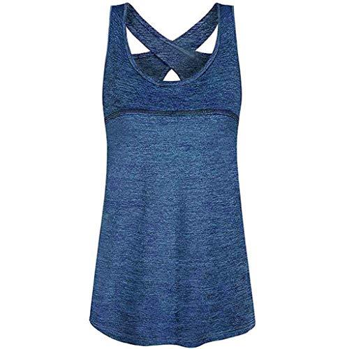 Moonuy Summer Damen yoins 2hearts Umstandsmode Damen Ärmel Tops Mode weniger Rundhals Criss Cross Rücken Athletic Yoga O-Neck Shirt