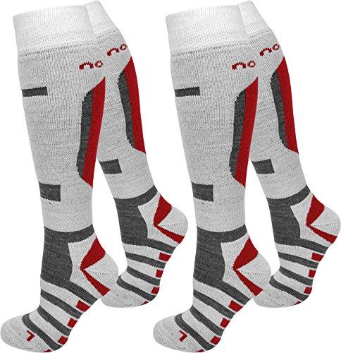 2 Paar normani® Thermo Ski-Socke, atmungsaktiv und schützend Farbe Ripp/Weiß/Rot Größe 39/42 (Socken Hose Farbe)