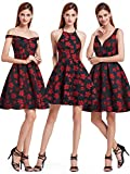 Ever Pretty Damen Halter Neck O-Ausschnitt Trägerlos Partykleid Sommerkleid Festkleid 44 Größe Marine und Rot