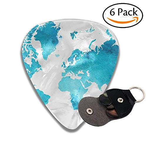 Illustrated Map Of The World With A Isolated Background Blue Heaven Watercolor Stylish Celluloid Guitar Picks Plectrums For Guitar Bass .6 Pack 96mm