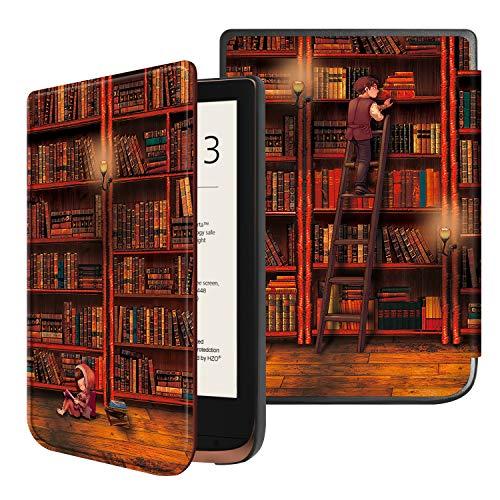 Fintie Hülle kompatibel für Pocketbook Touch HD 3 / Touch Lux 4 / Basic Lux 2 e-Book Reader - Ultradünne Schutzhülle mit Auto Aufwachen/Schlaf Funktion und Magnetverschluss, die Bibliothek