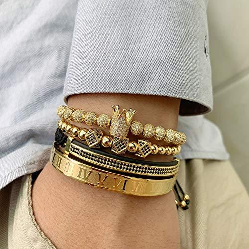 Imagen de vawaa 4 unids/set cobre cuentas rey corona hombres pulsera de acero inoxidable brazalete cz bola macrame pulseras brazaletes brazaletes para los hombres joyería alternativa