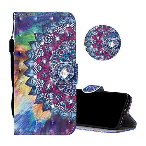 Obesky Glitzer Hülle für Huawei Honor View 20 / V20, Luxus Bling Diamant PU Leder Flip Wallet Case Standfunktion Kartensfach Magnetverschluss mit 3D Muster Mandala Totem Design Schutzhülle Design-diamant Bling