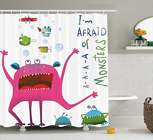 SRJ2018 Lustige Dekor Sammlung Unterwasser Tier Kreatur mit Spaß Monster Fisch Ich Habe Angst vor Monstern Zitat Kinder Dekor Bad Duschvorhang Set Lange rosa grün (Rosa Duschvorhang Set)