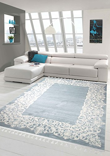 Designer Teppich Moderner Teppich Wollteppich Bordüre Design mit Fransen Wohnzimmer Teppich Türkis Creme Größe 80x150 cm