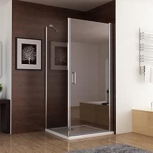 Duschkabine Dusche Duschwand 180° Schwingtür mit Eckeinstieg 90 x 75 (Seitenwand) x 195cm