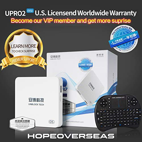 HopeOverseas 2018 Latest UnblockTech U S  Licensed UPRO I900 Model GEN4  GEN5  OS Version UBOX  with HDMI 2 0 Cable and Remote Case  Hope Overseas  an