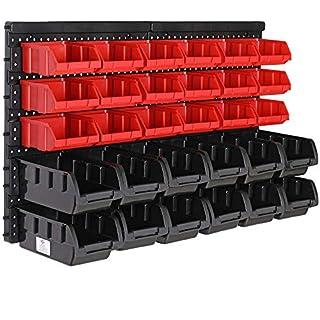 Deuba Wandregal mit Stapelboxen 32 tlg Box Starke Wandplatten Erweiterbar Werkstattregal Werkzeuglochwand