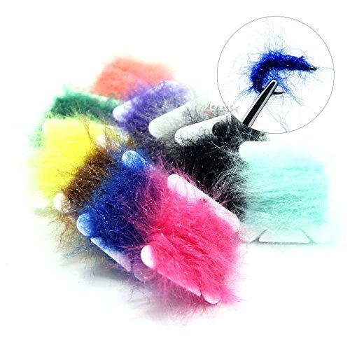 Sam's Fishing, 10 Karten mit Hareline Dubbin UV Polar Chenille fürs Fliegenfischen in beliebten Farben (Cactus Chenille)