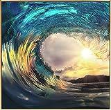 Kunstloft® fotografía artística enmarcada 'Ola de Sol' 80x80cm | fotografía contemporánea Cubierta por Vidrio | Olas Sol Turquesa Amarillo | fotografía artística con Marco de Aluminio