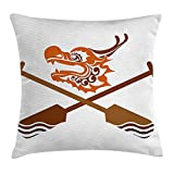 WCMBY Oar Throw Pillow Cushion Cover by, Dragon Boat Icon with Crossed Paddles Traditional Culture Sports Graphic Art, Decorative Square Accent Pillow Case, 18 X 18 Inches, Dark Orange Brown