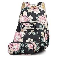 Leaper Casual Backpack Lunch Bag Pencil Purse 3pcs Set Black[8005]