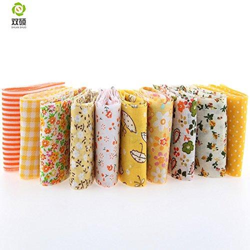 Reixus (TM) Ankunft 100% Baumwolle 10 St¨¹ck Jelly Roll gen?ht Faser gelb Set Stoff Streifen 6 x 100 cm Tildes Stepppuppe Kleidung TX 1 3