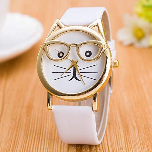 Süße Kreative Goldene Gläser Katze Gesicht Uhr Cartoon Kinderuhr weiß