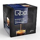 Qbo Kapseln - Espresso Indian Nilgiri (intensiv, vollmundig-kräftig, Anklänge von Pfeffer und zartbitterem Röstaroma, 80% Robusta, 20% Arabica) (8x27 Kapseln)
