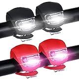 LED Fahrradlicht Set,4 Stück Solocil Silikonleuchten-Set (2X LED Weiß & 2X LED Rot) Wasserfestes Silikon-Licht für Kinderfahrrads Sicherheitslicht Kinderwagen-Beleuchtung mit Batterie