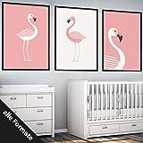 Papierschmiede Kinderposter 4er-Set Bilder Kinderzimmer Deko | Junge Mädchen | 4X DIN A4 Poster | fürs Babyzimmer ohne Bilderrahmen Kunstdruck | Motiv: Flamingo