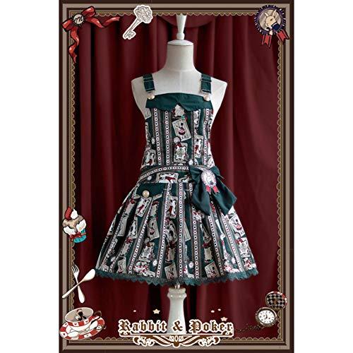 QAQBDBCKL Rabbit Poker Print Girls Tägliche Kleidung Party Uniform Japanische Kawaii ()