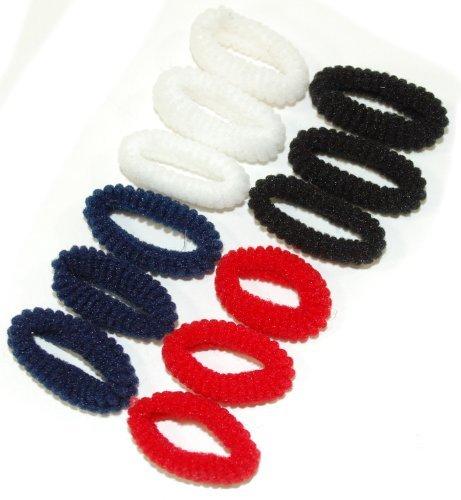 Preisvergleich Produktbild Nützliches Pack 12Mini Haargummis. Erhältlich in 4Farben: schwarz, pastell, hellen Farbschattierungen oder rot weiß schwarz und Blau. Nützliches Accessoire für kleine Mädchen. (rot weiß schwarz und Blau)