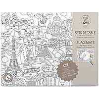 OMY Pochette de 24 sets de table villes à colorier Paris,Londres,New York, Barcelone, Berlin, Tokyo