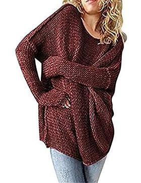 Jerseys Mujer Otoño Invierno Manga Largo O Cuello Sudaderas Jumper Sweater Pullover Punto Casuales Sencillos Anchos...