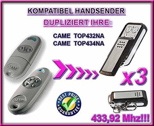 3X CAME TOP432NA/TOP434na. 433.92MHz Compatibile trasmettitore e ricevitore, trasmettitore di ricambio (Fixed Code)