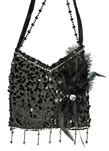 Charleston Täschchen Handtasche Schwarz - Tolles Accessoire zu Kostümen der 20er 30er Jahre oder Mottoparty (Handtasche Schwarze Schulter-stil)