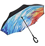 Reversion Regenschirm, Winddichtes Regenschirm umge Folding Double Layer Sunblock Umwelt Bumbershoot Double Layer Inside-Out Umgekehrte Umbrella (NO13)