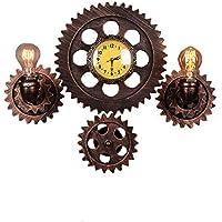Escomdp Vendimia Industrial Lámpara y Reloj de decoración con Tubo de Agua Engranaje para Bar Tienda