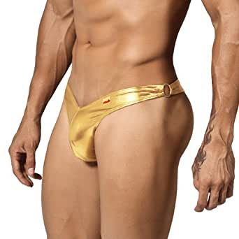 Pikante Whip Thong/String, Men's Underwear, Gold (XL)