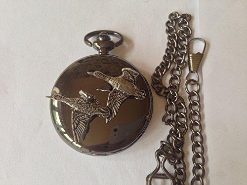 Neue Taschenuhr (B38Neues Paar Enten poliert schwarz Fall Herren Geschenk Quarz Taschenuhr hergestellt in Sheffield)