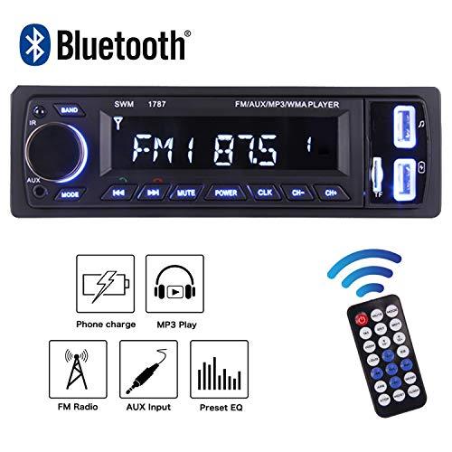 POMILE Autoradio Bluetooth MP3, Single Din Auto Audio Stereo FM Radio Groß Display 12V mit Fernbedienung FM USB/SD/AUX - Auto-stereo-fm-bluetooth