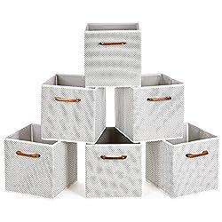 MaidMAX Aufbewahrungsboxen mit Holzgriff in 6er-Set für Regal, Faltbare Stoffboxen in Würfelform, Ordnungsbox Faltbox, Ordnungssystem für Büro Kinderzimmer Schlafzimmer Schrank-Graue Tupfen
