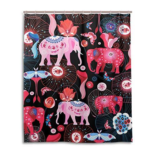 JSTEL Decor Cortina de Ducha efthasis Color Rosa Elefantes Patrón de impresión...