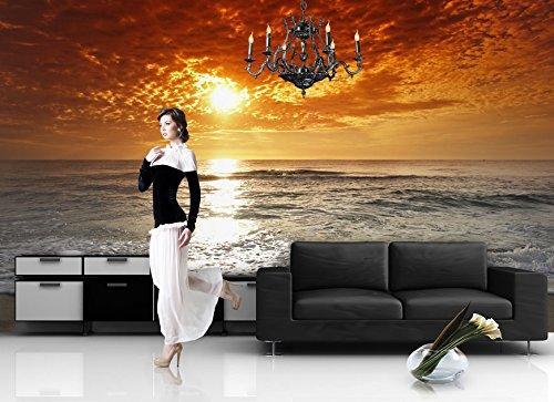 Preisvergleich Produktbild Fototapete MEER STRAND SONNENAUFGANG Nr.8T-124 Bordüre Wandtatoo Sticker wallpaper wall mural sunset sea ocean beach