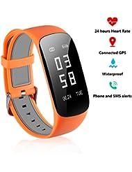 Fitness Activity 24 Stunden Tracker Pulsometros - Echtzeit Herzfrequenz Blutdruck Fitness GPS Sportuhr Rufen Sie SMS für Android IOS Orange