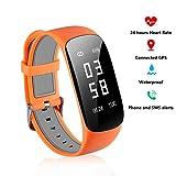 Fitness Tracker con cardiofrequenzimetro–tempo reale frequenza cardiaca Tracker contapassi con sonno monitor GPS Bluetooth Smartwatch per iPhone 77Plus 6Samsung S8Android e iOS smartphone (arancione)