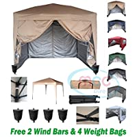 Premier 3x3m Waterproof Pop-up Gazebo with Silver Protective Layer Marquee Canopy WS (Beige)