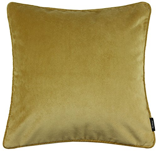 McAlister Textiles Luxury Kollektion | Kissenbezug aus mattem SAMT paspeliert | 40cm x 40cm in Ockergelb | Deko Kissenhülle für Sofa, Couch, Sessel Bett in luxuriösem Designer Plüsch