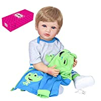 22 inch 55cm Reborn Baby Doll Silicone Full Body Lifelike Cute Bath Dolls Baby Doll Toddlers Gifts Set with Blue & Green Dinosaur Outfit