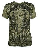 Sure Herren T-Shirt Ganesha OM Symbol Elefanten-Gott Indien Hinduismus Religion Goa (Olive Grün XL)