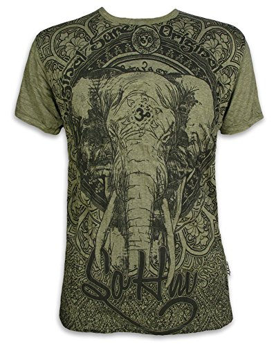 Sure Herren T-Shirt Ganesha OM Symbol Elefanten-Gott Indien Hinduismus Religion Goa (Olive Grün L)