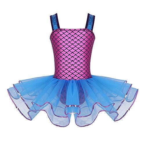 YAFEIYA Mädchen Teen Pailletten Riemen Ballett Tanzkurs Kleid Ballerina Lyrical Dance Kostüme Gymnastik Trikot für Kinder Kleid,6 (Lyrical Dance Kostüm Kinder)