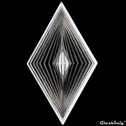 Glaskönig® Windspiele - Scaccia spiriti in acciaio INOX, a forma di rombo, misura grande, per giardino e finestre, 31 x 18 cm