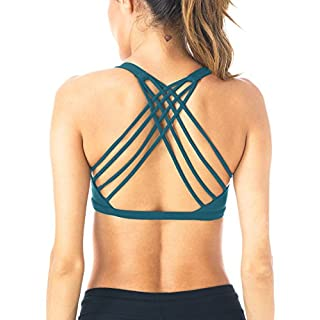 Queenie Ke Womens Yoga Sport Bra Light Support Strappy Free to Be Bra Size XL Color Teal Across