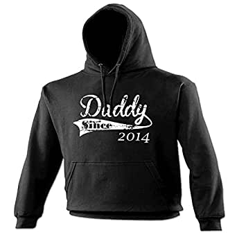 DADDY SINCE ... ANY YEAR (DISTRESSED STYLE LOGO) (S - BLACK) NEW PREMIUM PERSONALISED CUSTOM HOODIE - 2009 2010 2011 2012 2013 2014 made in legend established Slogan Funny Novelty Vintage retro top clothes New Born Father's Day Mens Boy Loosefit t shirt hoody tshirts sweatshirt joke keep Fashion Urban calm geek Dope gift parent newborn child baby Birthday father dad daddy christmas present S M L XL 2XL 3XL 4XL 5XL - by Fonfella