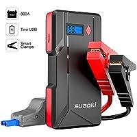 Suaoki P6 - Démarreur de voiture 800A, Booster Batterie Démarrage Voitures jusqu'à 6.0L gaz ou 5.0L diesel (affichage d'affichage à cristaux liquides, sorties USB doubles, LED, câble intelligent)